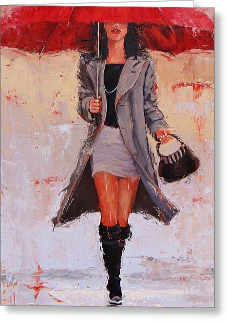 Umbrellas Greeting Cards - Big Red Greeting Card by Laura Lee Zanghetti