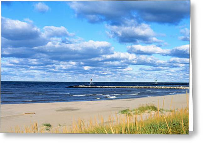 Desert Lake Greeting Cards - Big Red Lighthouse, Holland, Michigan Greeting Card by Panoramic Images