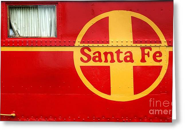 Old Caboose Greeting Cards - Big Red Santa Fe Caboose Greeting Card by Paul W Faust -  Impressions of Light