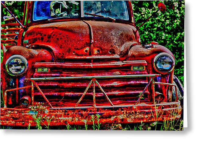 Rusted Cars Greeting Cards - Big Red  Greeting Card by Toni Hopper