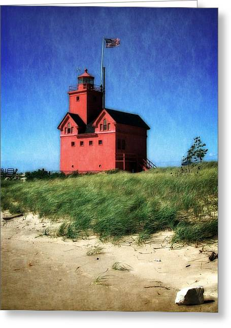 Recently Sold -  - Wooden Stairs Greeting Cards - Big Red with Flag Greeting Card by Michelle Calkins