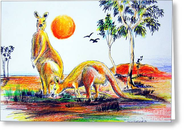 Kangaroo Drawings Greeting Cards - Big Reds Kangas Greeting Card by Roberto Gagliardi
