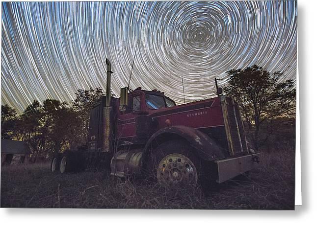 Stars Trail Greeting Cards - Big Rig Trails Greeting Card by Aaron J Groen