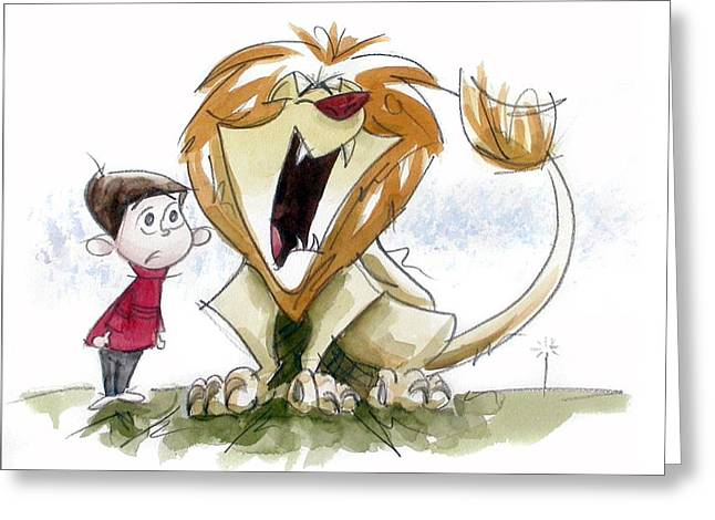 Cartoon Lion Greeting Cards - Big Roar Lion Greeting Card by Andrew Fling