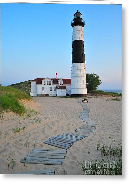 Twilight Greeting Cards - Big Sable Point Great Lakes Lighthouse Greeting Card by Terri Gostola
