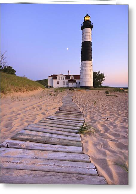 Full Moon Greeting Cards - Big Sable Point Lighthouse Greeting Card by Adam Romanowicz