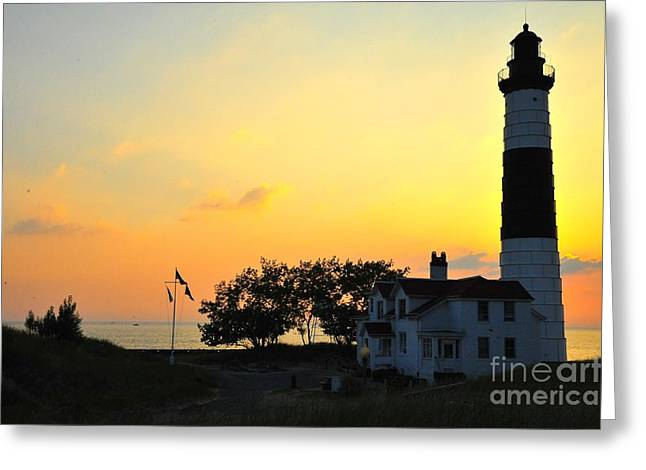 Dusk Greeting Cards - Big Sable Point Lighthouse on Lake Michigan Greeting Card by Terri Gostola