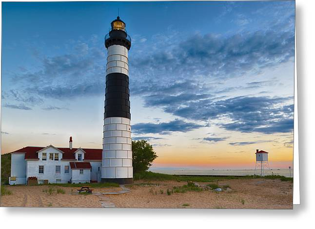 Sand Dunes Greeting Cards - Big Sable Point Lighthouse Sunset Greeting Card by Sebastian Musial
