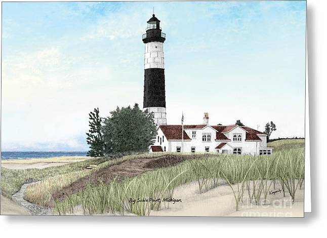 Darren Mixed Media Greeting Cards - Big Sable Point Lighthouse Titled Greeting Card by Darren Kopecky
