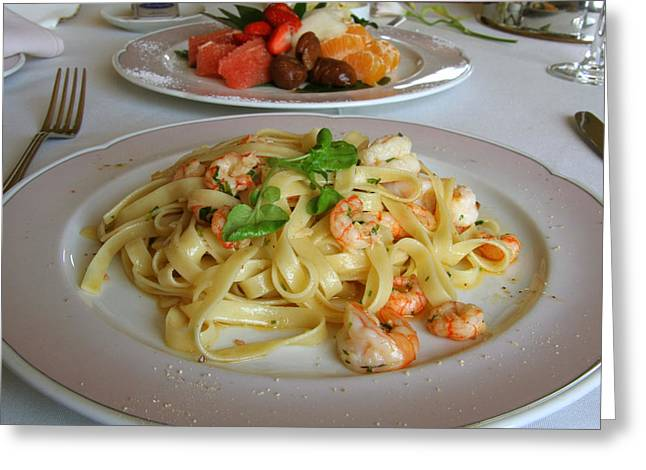 Tangerine Greeting Cards - Big shrimp pasta Greeting Card by Celso Diniz