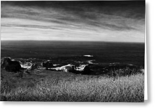 Big Sir California Greeting Cards - Big Sir - Black and White Panorama Greeting Card by Kevin McElligott