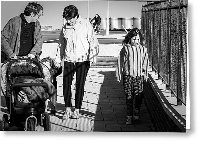 Candid Family Portraits Greeting Cards - Big Sister on the Outer Greeting Card by Paul Donohoe