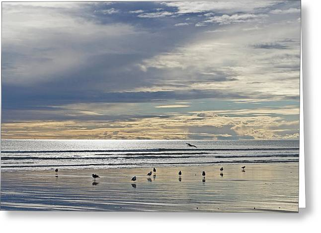 Ocean Landscape Greeting Cards - Big skies reflected Greeting Card by Marianne Robson