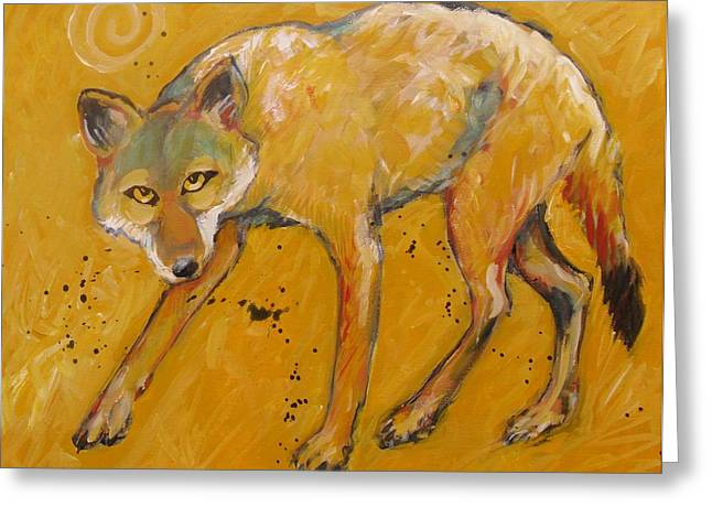 Brush Wolf Greeting Cards - Big Sky Coyote Greeting Card by Carol Suzanne Niebuhr