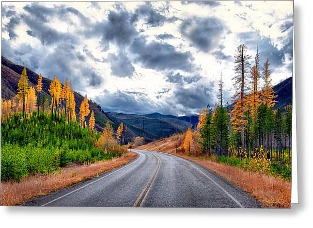 Roadway Greeting Cards - Big Sky Highway Greeting Card by Renee Sullivan