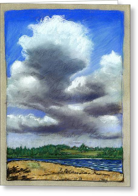 Maine Landscape Pastels Greeting Cards - August Cloud Greeting Card by Mary Wilshire