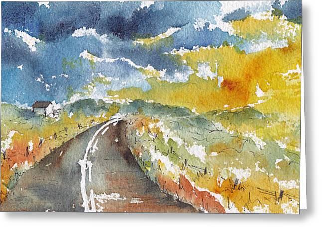 Big Sky - Open Road Greeting Card by Pat Katz