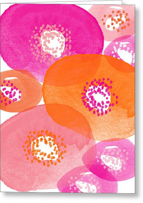 Circles Greeting Cards - Big Spring Flowers- Contemporary watercolor painting Greeting Card by Linda Woods