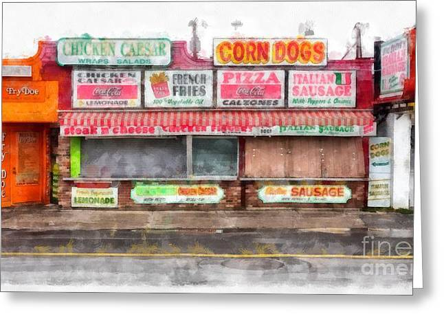 New England Coast Greeting Cards - Big Steves Italian Sausage Hampton Beach Boardwalk Greeting Card by Edward Fielding