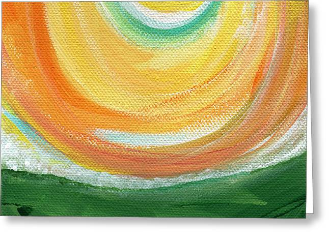 Sun Mixed Media Greeting Cards - Big Sun- abstract landscape  Greeting Card by Linda Woods