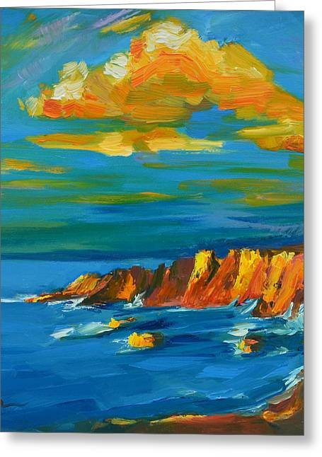 Fine Of Big Sur Gallery Paintings Greeting Cards - Big Sur at the West Coast of California Greeting Card by Patricia Awapara