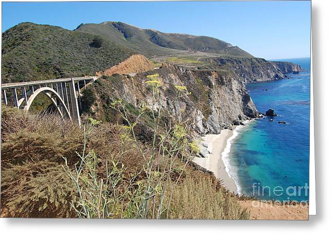 Bixby Bridge Greeting Cards - Big Sur Bixby Bridge and Beach Greeting Card by Debra Thompson