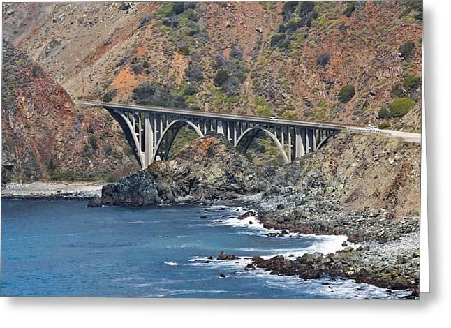 Concrete Bridge Greeting Cards - Big Sur Bridge Coast Highway Greeting Card by Lynn Andrews