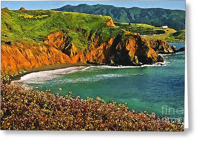 Big Sur Beach Paintings Greeting Cards - Big Sur California Coastline Greeting Card by  Bob and Nadine Johnston