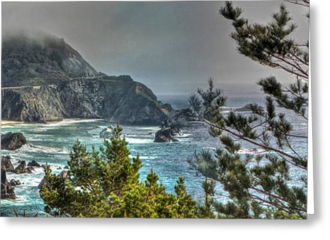 Big Sur Beach Greeting Cards - Big Sur Coast and Bixby Bridge Pano Greeting Card by SC Heffner
