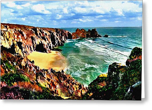 Big Sur Beach Greeting Cards - Big Sur Coast California Original Painting Greeting Card by  Bob and Nadine Johnston