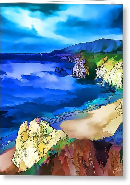 Big Sur Digital Art Greeting Cards - Big Sur Coast - Painterly Greeting Card by Bill Caldwell -        ABeautifulSky Photography
