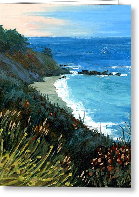 Central Coast Greeting Cards - Big Sur Coastline Greeting Card by Alice Leggett
