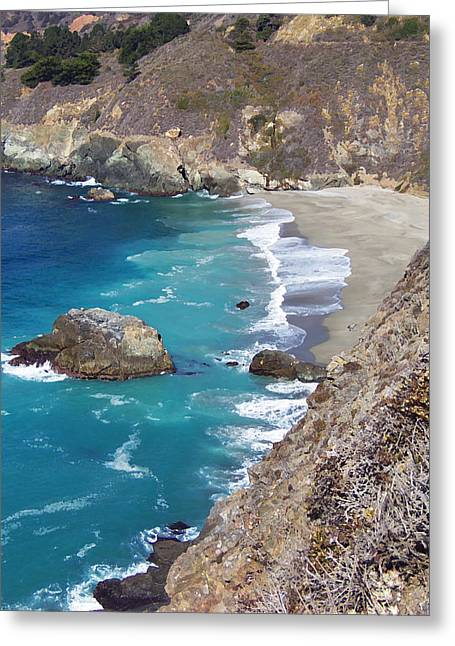 California Big Wave Surf Greeting Cards - Big Sur Coastline Greeting Card by Art Block Collections