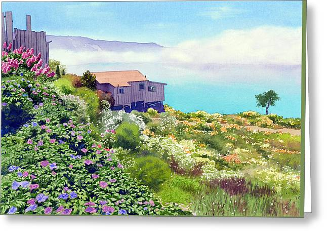 Central Greeting Cards - Big Sur Cottage Greeting Card by Mary Helmreich