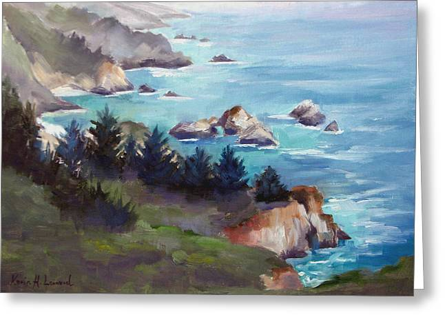 Bixby Bridge Paintings Greeting Cards - Big Sur in the Mist Greeting Card by Karin  Leonard