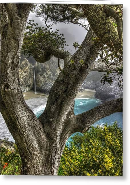 Big Sur Mc Way Falls At Julia Pfeiffer State Park-1 Central California Coast Spring Early Afternoon Greeting Card by Michael Mazaika