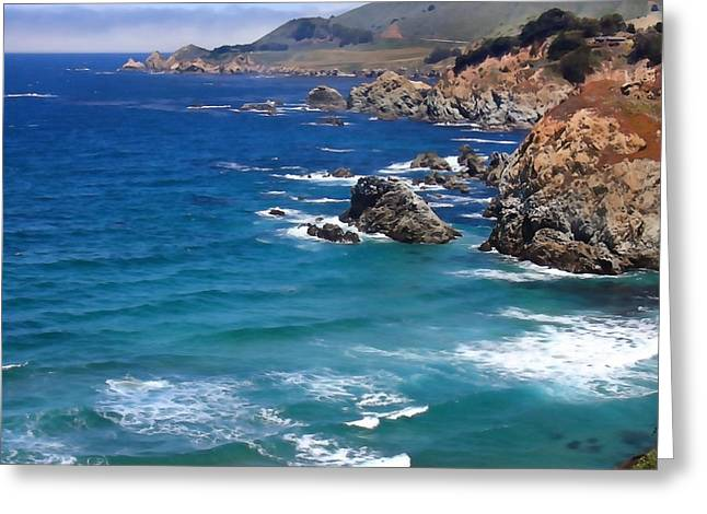 California Big Wave Surf Greeting Cards - Big Sur Panoramic Greeting Card by Art Block Collections