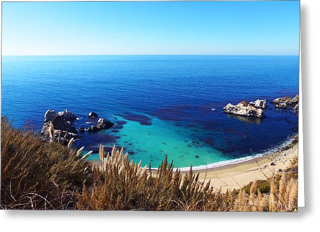 Big Sur Beach Greeting Cards - Big Sur Sandy Cove Greeting Card by Art Block Collections