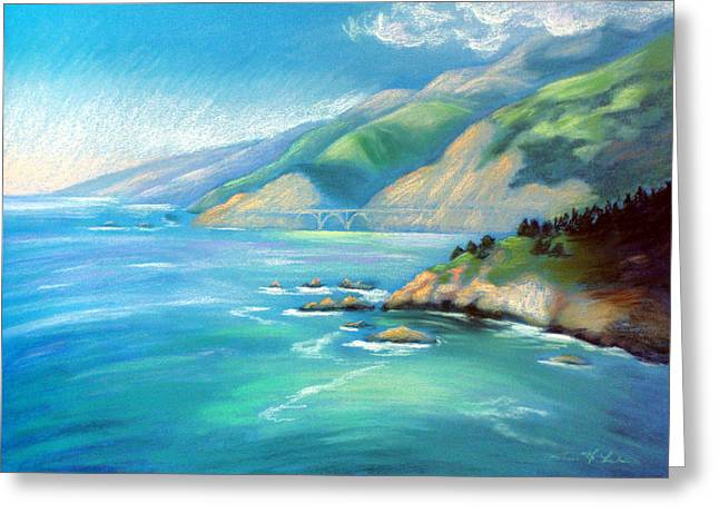 Recently Sold -  - Bixby Bridge Greeting Cards - Big Sur Serenity Greeting Card by Karin  Leonard