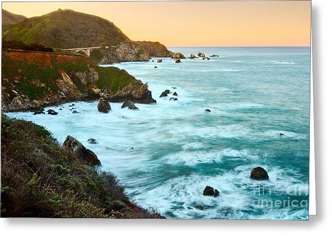 Cliff Greeting Cards - Big Sur Sunrise Greeting Card by Jamie Pham