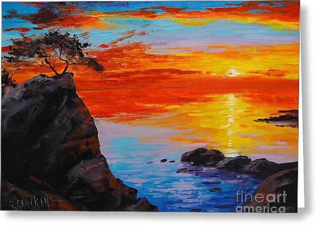 Big Sur Paintings Greeting Cards - Big Sur Sunset Greeting Card by Graham Gercken