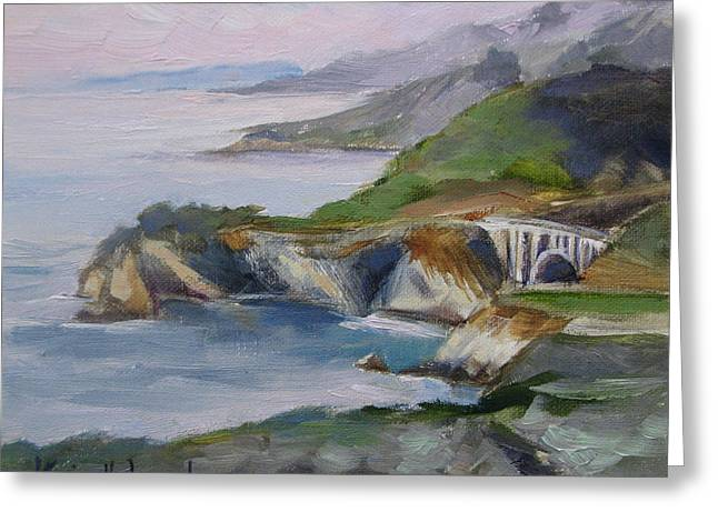 Bixby Bridge Paintings Greeting Cards - Big Sur Sunset Greeting Card by Karin  Leonard
