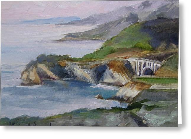 Big Sur Paintings Greeting Cards - Big Sur Sunset Greeting Card by Karin  Leonard