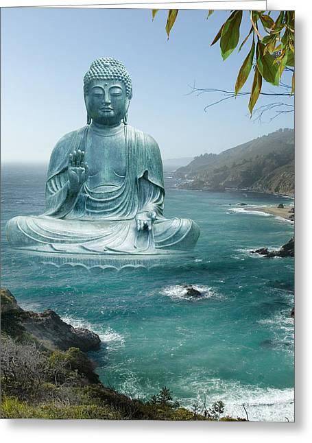 Big Sur Greeting Cards - Big Sur Tea Garden Buddha Greeting Card by Alixandra Mullins