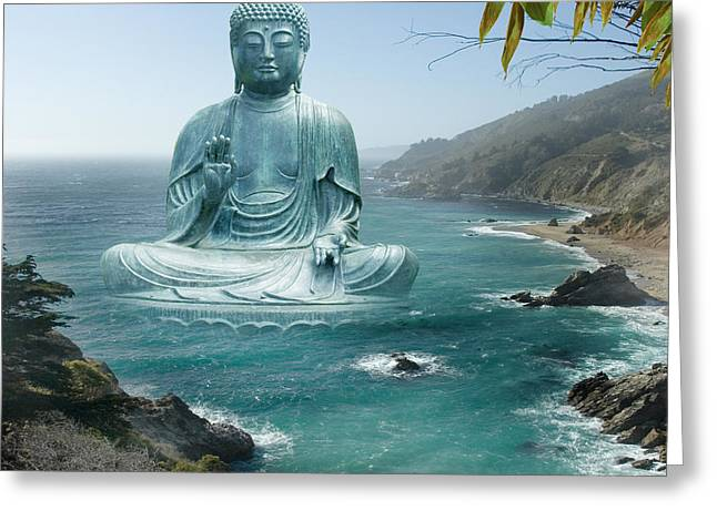 Big Sur Tea Garden Buddha Greeting Card by Alixandra Mullins