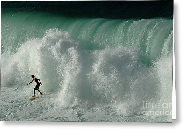 Surfing Photos Greeting Cards - Big Surf Greeting Card by Bob Christopher