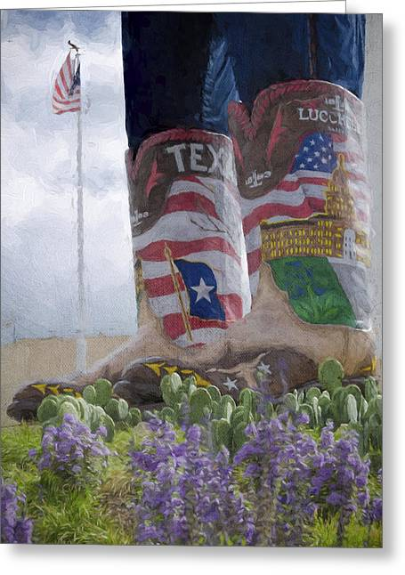 State Fair Greeting Cards - Big Tex Boots Greeting Card by Joan Carroll