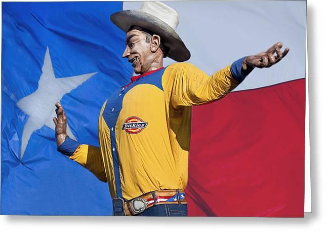Amusements Greeting Cards - Big Tex and The Lone Star Flag Greeting Card by David and Carol Kelly