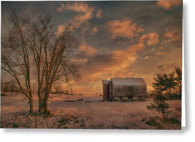 Snow Tree Prints Greeting Cards - Big Tree Little Barn Greeting Card by Kathy Jennings