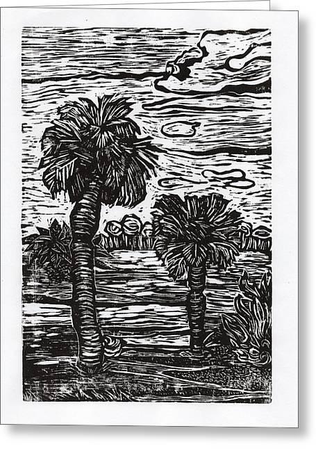 Linocut Drawings Greeting Cards - Big Tree Little Tree Greeting Card by Monica James